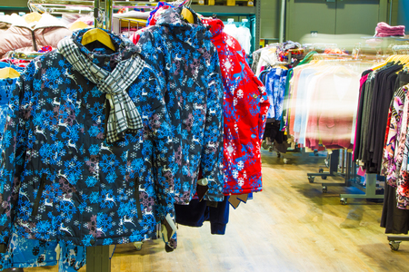 clothing store: Retail Shopping Sale. Clothing in Fashion Store
