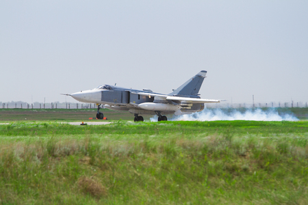 Military fighter landed at the airfield of