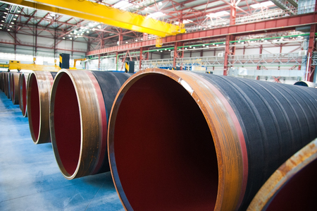 subsea: Manufacture of steel pipes for the subsea gas pipeline in the factory Stock Photo