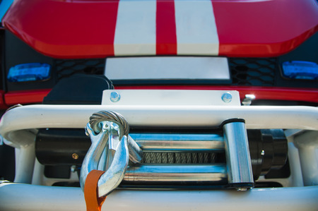Car pool with fire engines of fire department Stock Photo