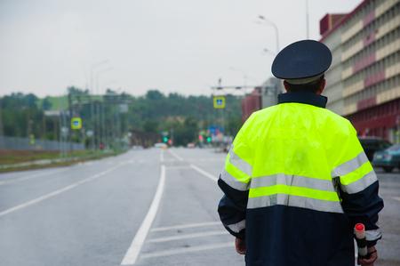 Road patrol service. Traffic cop on the road Stockfoto - 105259548