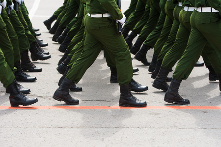 Soldiers in dress uniform marching in the parade Reklamní fotografie