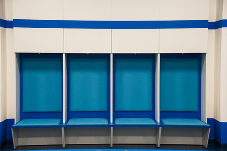 Empty football changing room at the stadium Archivio Fotografico