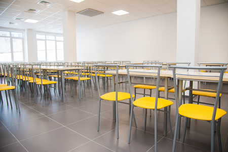 Modern new school building. Cafeteria in modern school 스톡 콘텐츠