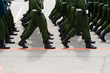 Soldiers in dress uniform marching in the parade Stock Photo