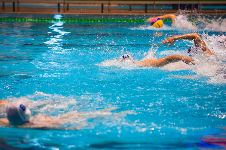 Water polo action in a swimming pool Banco de Imagens