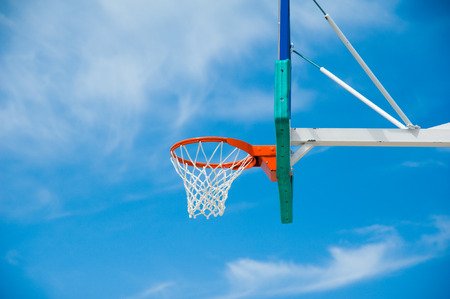 Basketball board over the sky. Outdoor basketball court Stock fotó