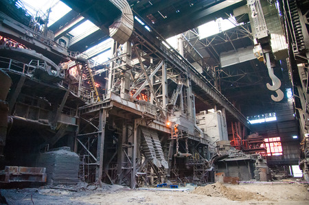 Metal structures and buildings of the old metallurgical plant inside and outside