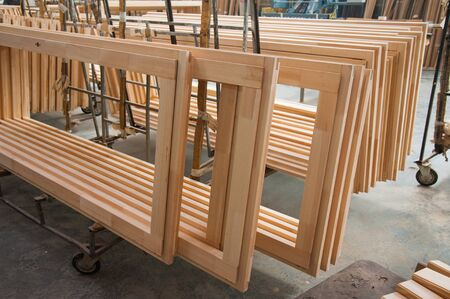 Joinery. Manufacture of wooden doors, windows, furniture Banque d'images - 127700382