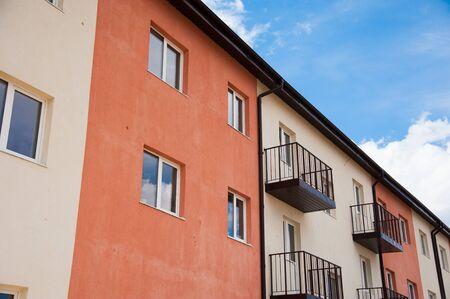 Brand new apartment building against the blue sky Reklamní fotografie