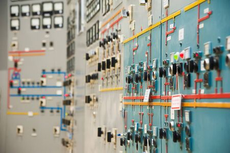 The interior of a modern thermal power plant. Equipment, pipes, control center of thermal power plant.
