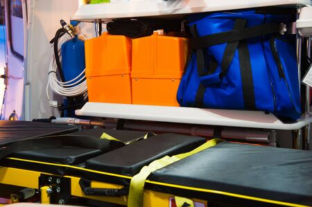 Inside an ambulance car with medical equipment. Medicine and healthcare Foto de archivo