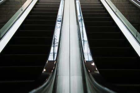 Escalator inside modern business center or shopping center