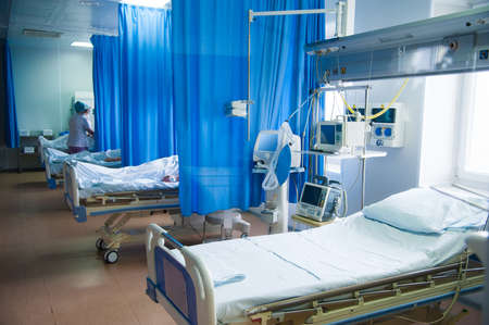 Rehabilitation room with equipment. Resuscitation chamber in municipal hospital Stock Photo