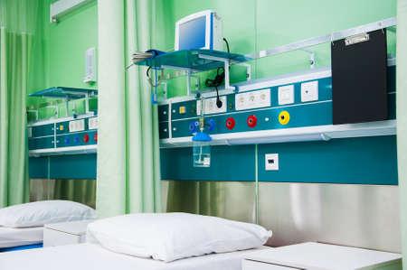 Rehabilitation room with equipment. Resuscitation chamber in municipal hospital