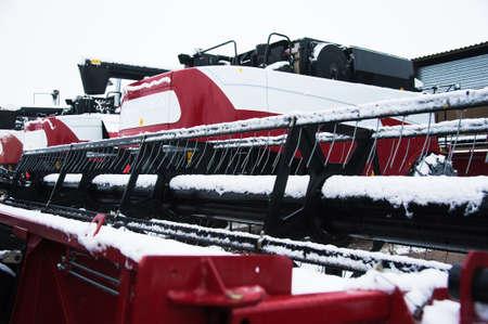 Farm machinery on a farm in the winter
