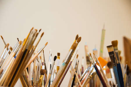 Brushes for painting. Various shapes of bristle, different handlers of artistic tools 写真素材