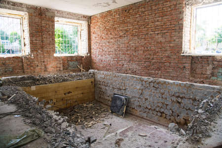 Inside an old residential building during renovation and reconstruction. Construction
