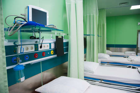Rehabilitation room with equipment. Resuscitation chamber in municipal hospital