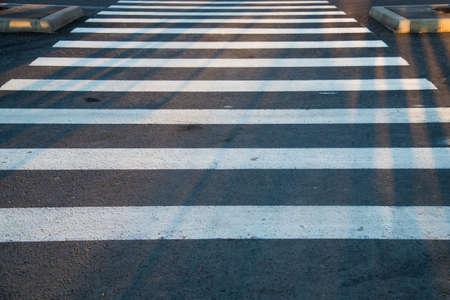 Road markings. The white line of the crosswalk on the black asphalt Standard-Bild