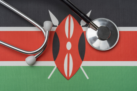 Kenya flag and stethoscope. Stethoscope on the flag as a background. 스톡 콘텐츠