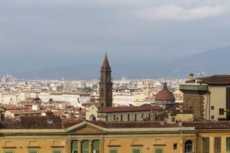 The roof of the Palazzo Pitti overlooking the dome of the Church of Santa Maria Del Fiore. Editorial