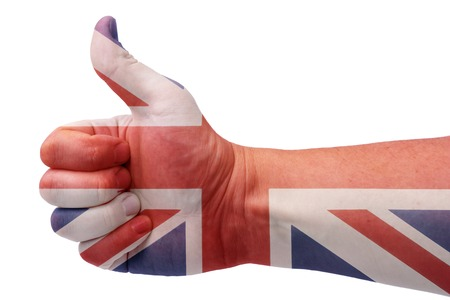 UK flag and the hand with the thumbs up.