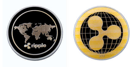 Ripple coin on white isolated  on both sides close-up.