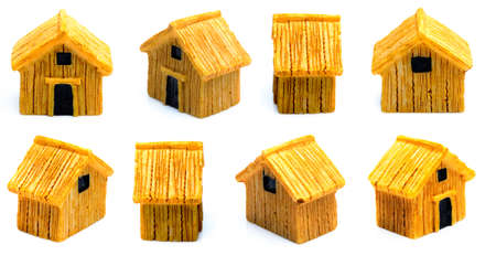 Wooden model of the house on  white
