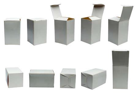 White, small box on white  at different angles. Archivio Fotografico
