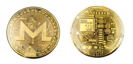 Gold bitcoin on white isolated  on both sides. Archivio Fotografico