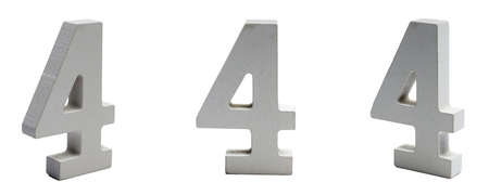 Number four on a white  at different angles.