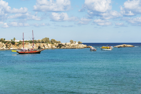 Wooden boats at the shore of the island of Crete. Greece, on a Sunny day. 写真素材