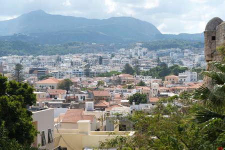 View of resort Greek architecture Rethymno city-port