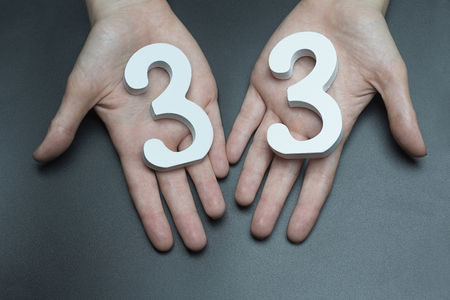 Female hand with the number thirty-three. Imagens