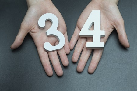 Female hand with number thirty-four. Banco de Imagens