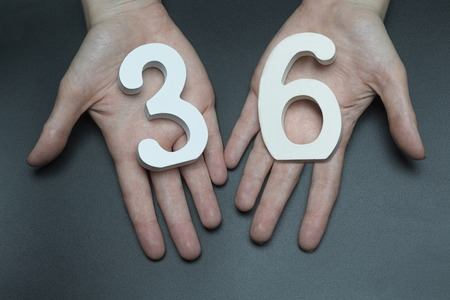 Female hand with number thirty-six.