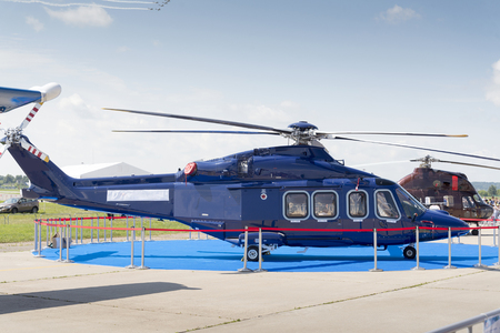 blue helicopter at the international exhibition in Zhukovsky.