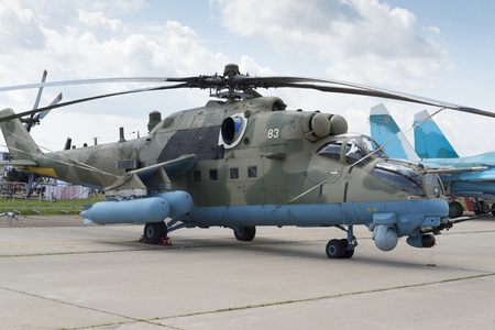 Russian military helicopters at the international exhibition in Zhukovsky.