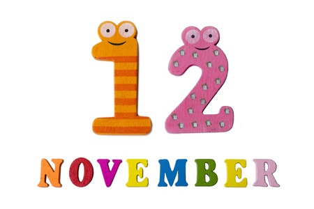 November 12, on a white background, numbers and letters. Calendar.