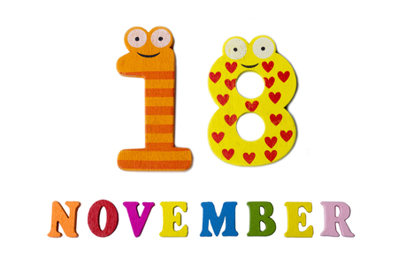 November 18 on white background, numbers and letters. Calendar.