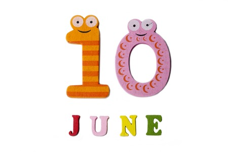 The number ten and the word June on a white background. Calendar. Stock Photo