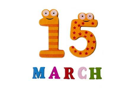 March 15 on white background, numbers and letters. Calendar.