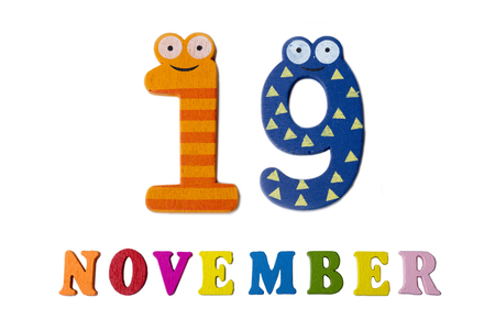 November 19 on white background, numbers and letters. Calendar.