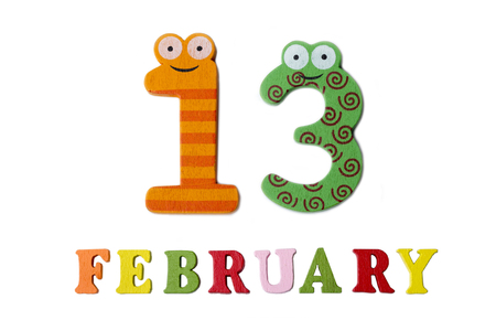February 13 on white background, numbers and letters. Calendar. 免版税图像