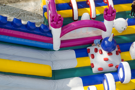 Children's inflatable slide, top view, for young children.