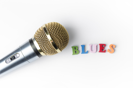 Microphone on a white background, close-up, Blues genre.