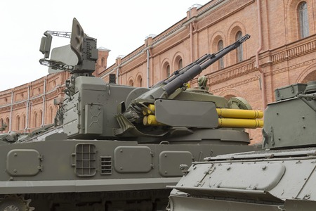 Large-caliber machine gun with a turret on the tank close-up. Museum of artillery. Editorial