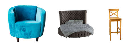 Furniture set armchair, bed, wooden chair on white isolated background for designers.