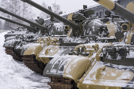 The average Soviet t-55 tank close-up in the Museum. Soviet military equipment. Editöryel